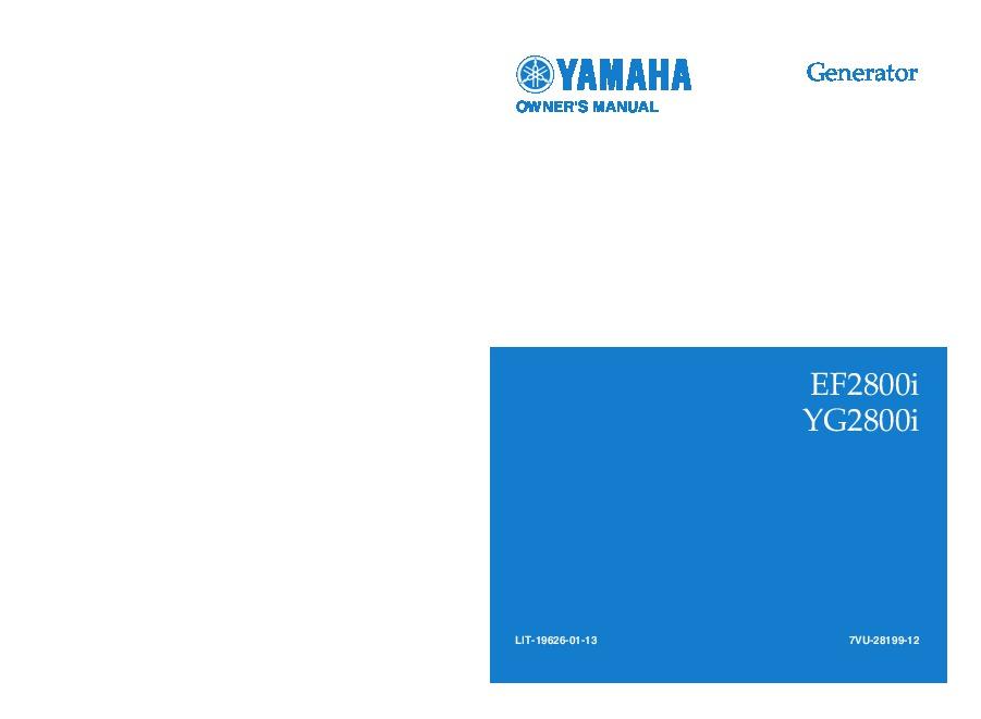 yamaha ef2800i yg2800i generator owners manual rh needmanual com Yamaha Portable Generators Yamaha 3000 Generator Replacement Parts