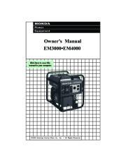 Honda Generator EM3000 EM4000 Owners Manual page 1