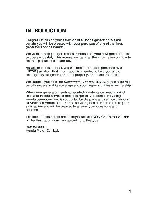 Honda Generator Eu3000i Owners Manual