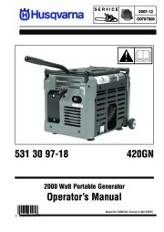 2007-2012 Husqvarna 420GN Generator Owners Manual page 1