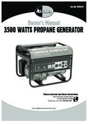All Power America 3500 APG3535 Generator Owners Manual page 1