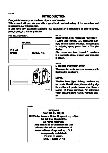 Yamaha ef1000is generator owners manual for Yamaha rx v377 manual