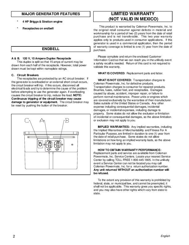 coleman powermate 6250 service manual