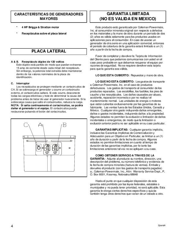 Coleman powermate 4000 manual pdf