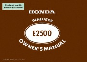 Honda Generator E2500 Owners Manual Owners Manual page 1