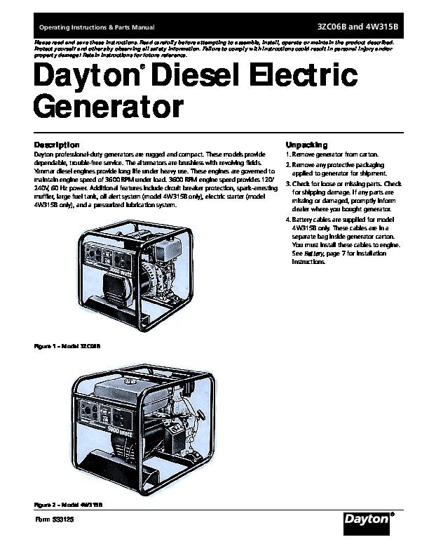 China Diesel Generator Owners Manual Diagrams