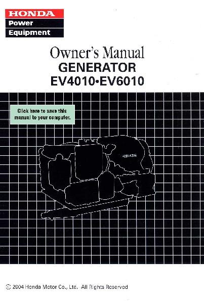 Honda Generator EV4010 EV6010 Owners
