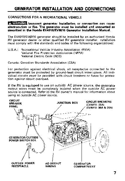Honda Generator EV4010 EV6010 Owners Manual