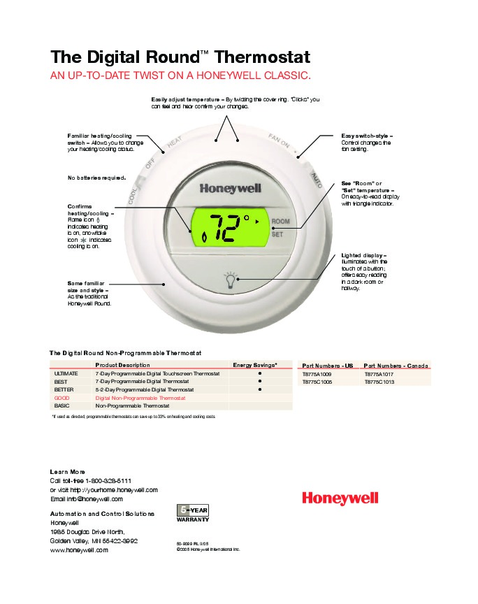 Wiring Diagram For Honeywell Round Thermostat : Honeywell ct k wiring diagram heat pump