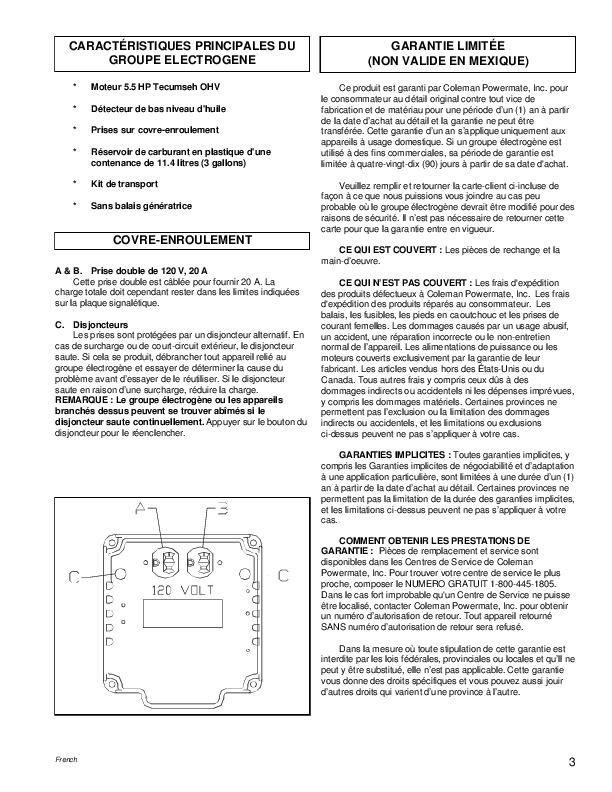 coleman powermate 3750 generator manual