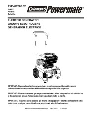 Coleman Powermate PM0422505 Generator Owners Manual page 1