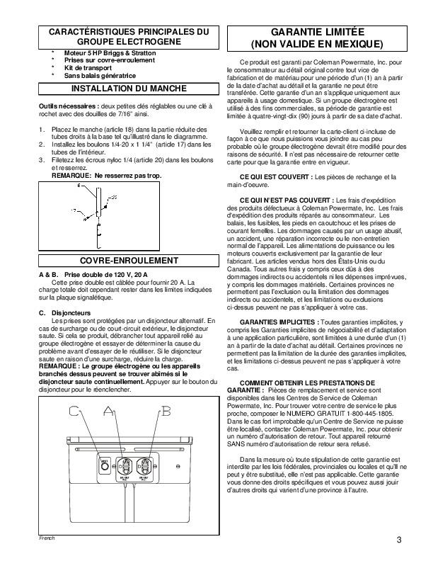 Manual For Coleman Powermate Generator