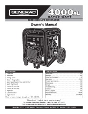 Generac 4000XL Generator Owners Manual page 1