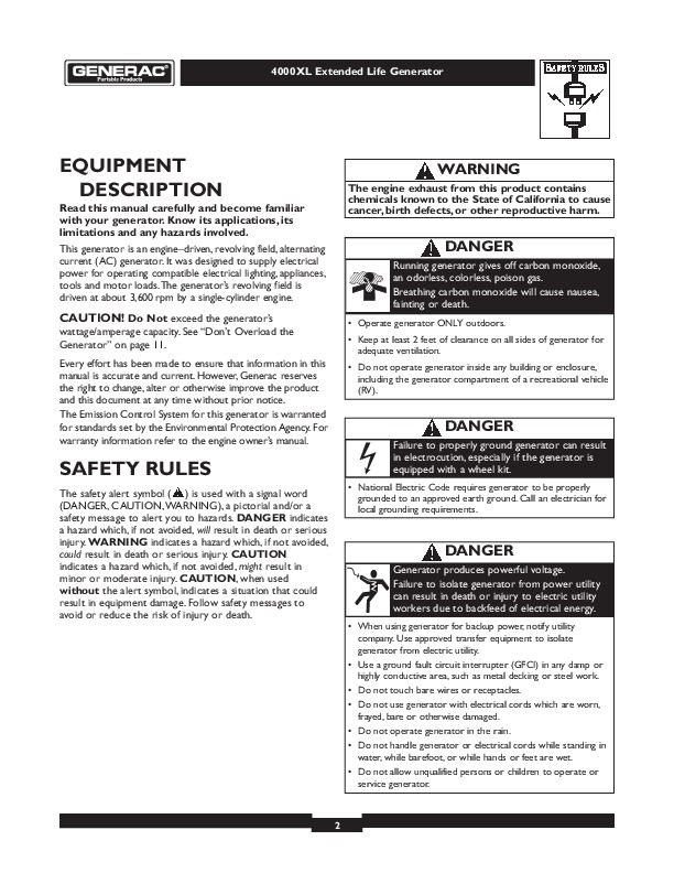 generac 7550 exl owners manual
