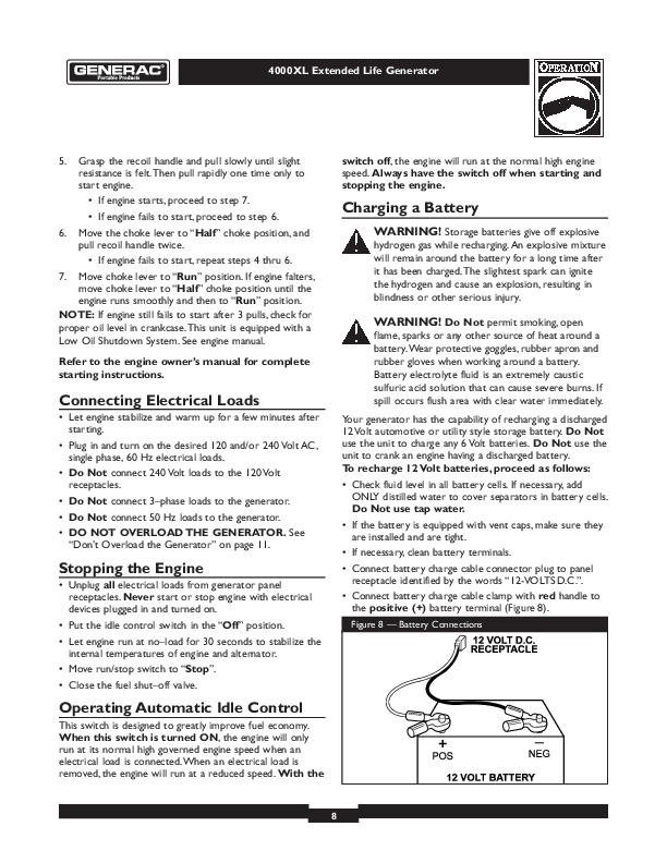 Generac 7550 xl Manual