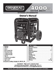 Generac 4000EXL Generator Owners Manual page 1