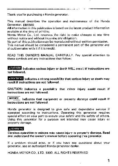 Honda generator em3800sx em5000sx em6500sx owners manual for Honda financial services customer service number