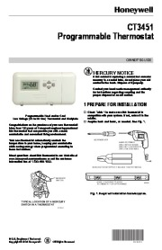 Honeywell CT3451 Programmable Thermostat Owners Guide page 1