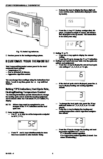 Honeywell Ct3451 Programmable Thermostat Owners Guide