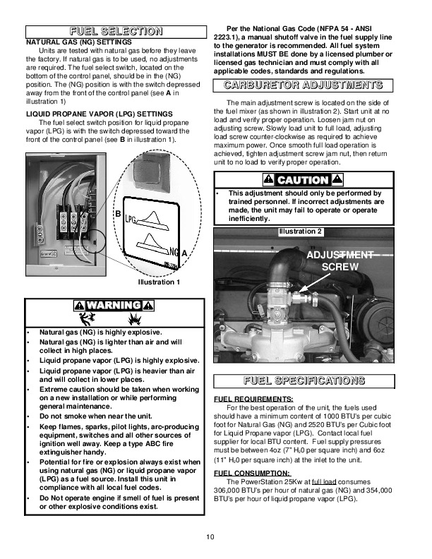 standby generator installation instructions