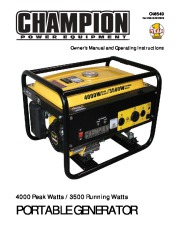 Champion 3500 4000 Generator Owners Manual page 1