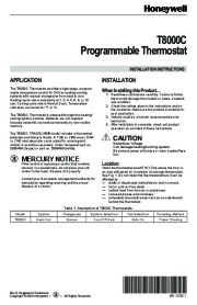 Honeywell T8000C Programmable Thermostat Installation Instructions page 1