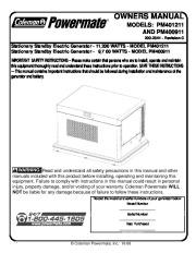Coleman Powermate PM401211 PM400911 Generator Owners Manual page 1