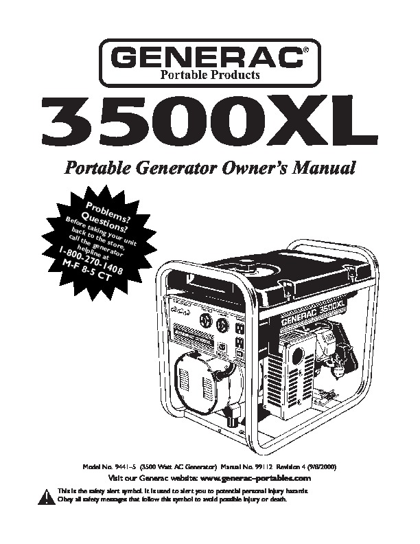 Generac 3500xl Model 09441 2