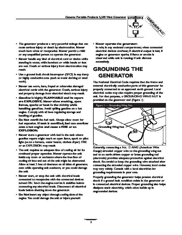 Generac 7550 Generator Parts instruction Manual
