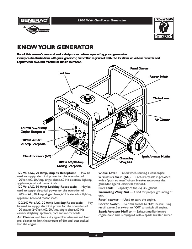 generac 5000 generator owners manual. Black Bedroom Furniture Sets. Home Design Ideas