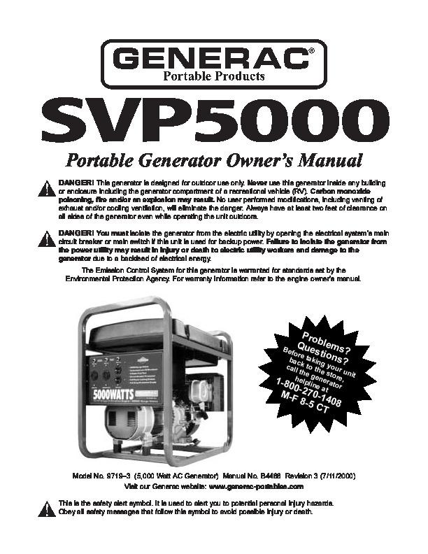 generac svp5000 generator owners manual. Black Bedroom Furniture Sets. Home Design Ideas