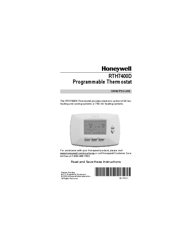 honeywell rth7400d programmable thermostat owners guide rh home appliance needmanual com honeywell rth7400d thermostat operating manual