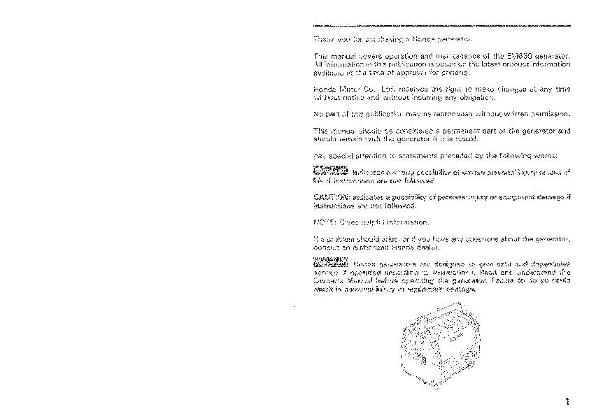 Honda em650 generator Manual