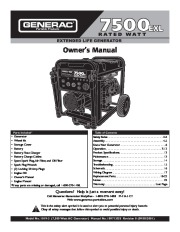 Generac 7500EXL Generator Owners Manual page 1