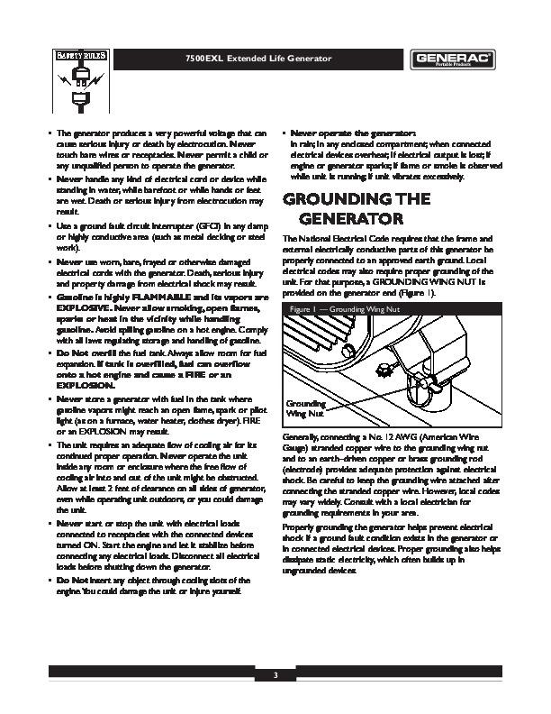 Generac 7500 exl generator Manual