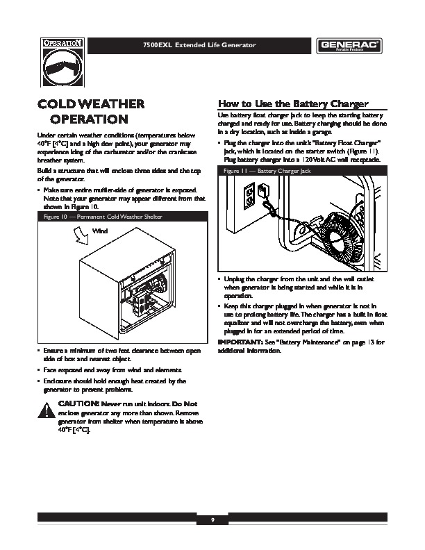 Generac 7500EXL Generator Owners Manual 9 generac 7500exl generator owners manual generac battery charger wiring diagram at reclaimingppi.co