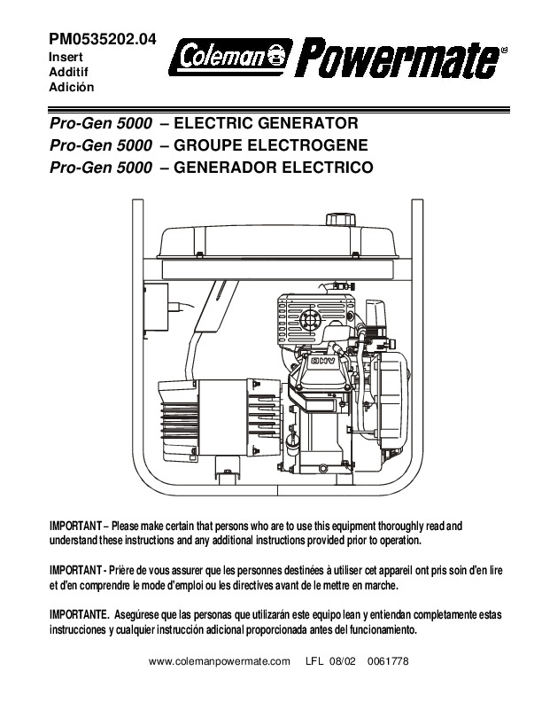 Coleman Powermate Pro Gen 5000 PM0535202 Generator Owners Manual 1 coleman powermate pro gen 5000 pm0535202 generator owners manual powermate wire diagram at eliteediting.co