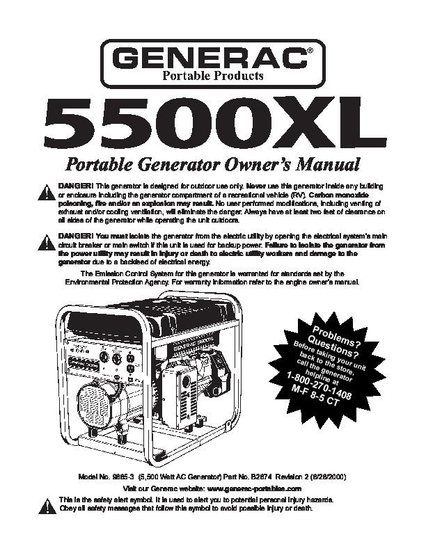 generac 5500xl generator owners manual rh home appliance needmanual com Generac Engine Parts List Generac Small Engine Parts