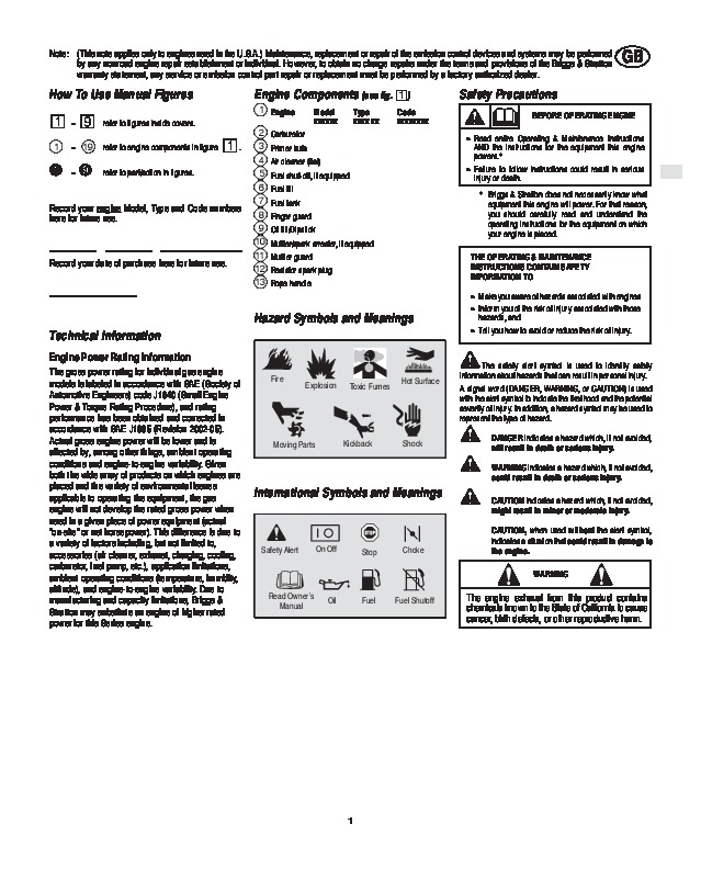 briggs and stratton 120000 600 625 650 675 series generator owners rh home appliance needmanual com briggs and stratton 675 series 190cc owners manual Briggs Stratton Lawn Mower Owner Manuals