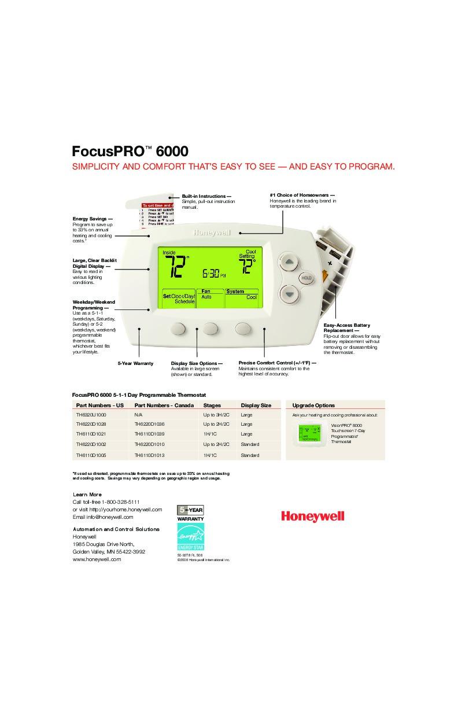 honeywell focuspro 6000 5
