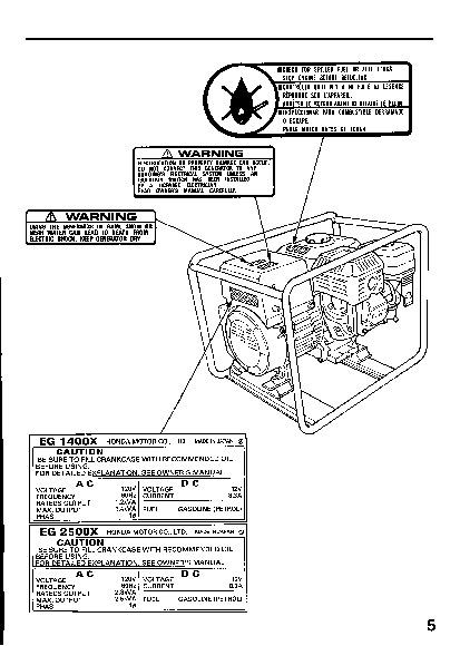 honda eb11000 generator parts