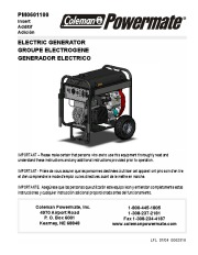 Coleman Powermate PM0601100 Generator Owners Manual page 1