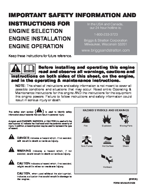 Briggs And Stratton Manual Manual Guide