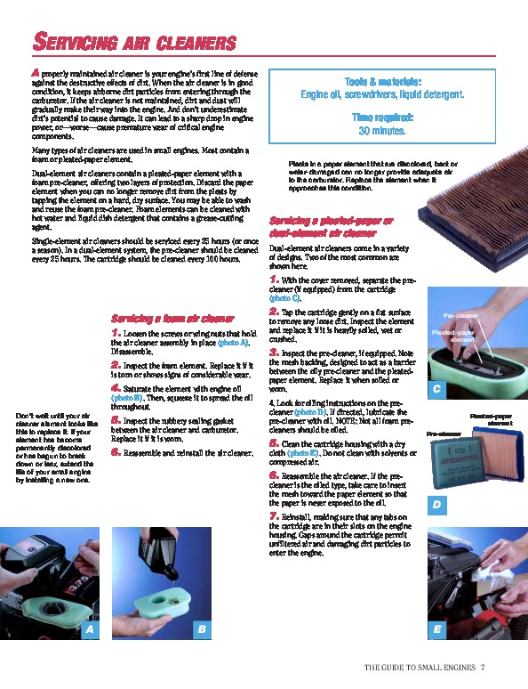 briggs  stratton small engine care  repair generator manual
