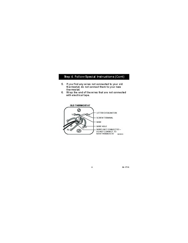 honeywell rthb non programmable thermostat installation honeywell rth5100b non programmable thermostat installation instructions page 9