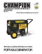 Champion 6500 7800 Generator Owners Manual page 1