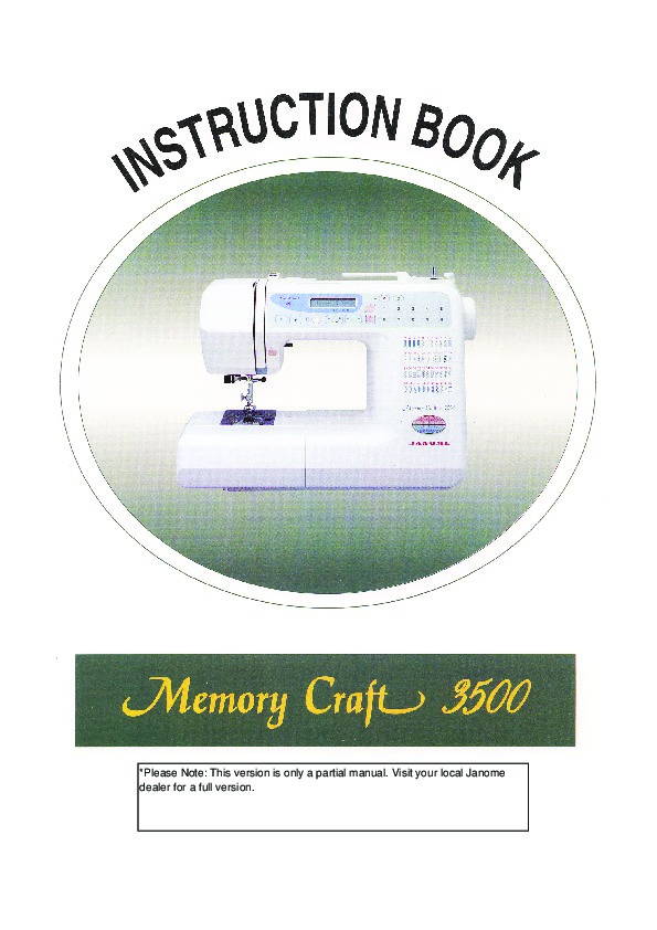 Janome Memory Craft  Instruction Manual Free Download