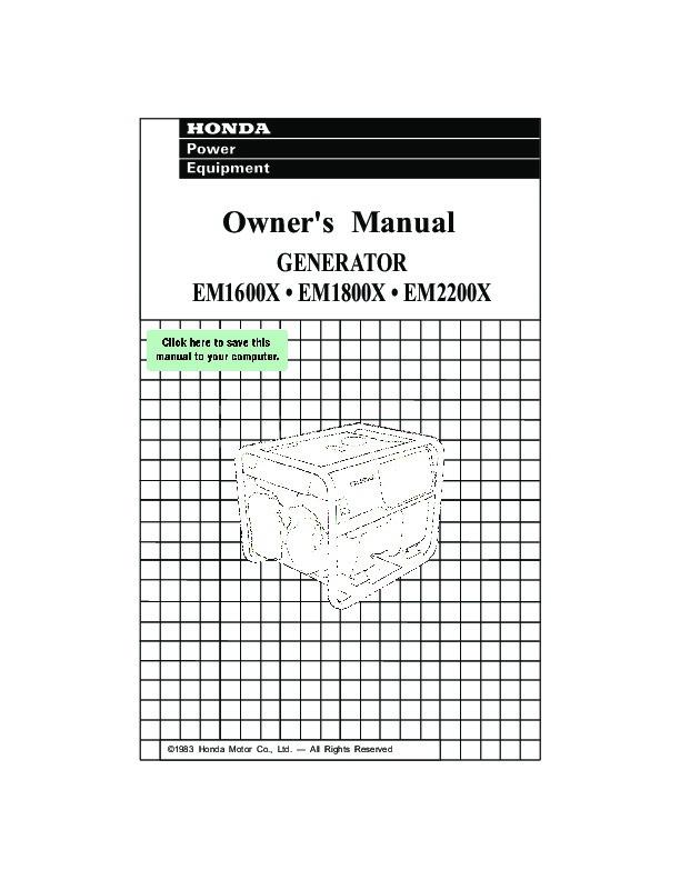 Honda Generator EM1600X EM1800X EM2200X Owners Manual 1 honda em2200x wiring diagrams wiring diagrams  at crackthecode.co