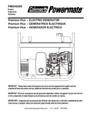 Coleman Powermate Premium Plus PM0545005 Generator Owners Manual page 1