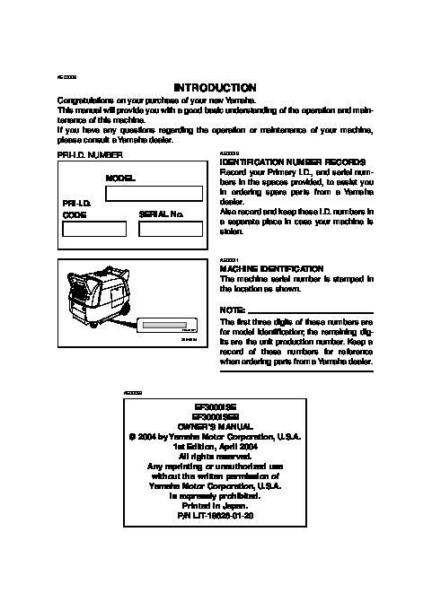 yamaha ef3000ise ef3000iseb generator owners manual rh home appliance needmanual com Yamaha Generator Parts Yamaha Generators Dealers